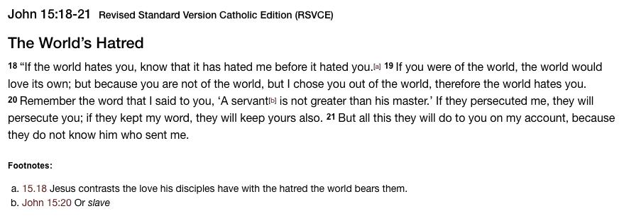 Gospel - John 15 18-21