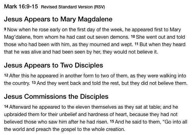 Gospel - Mark 16 9-15